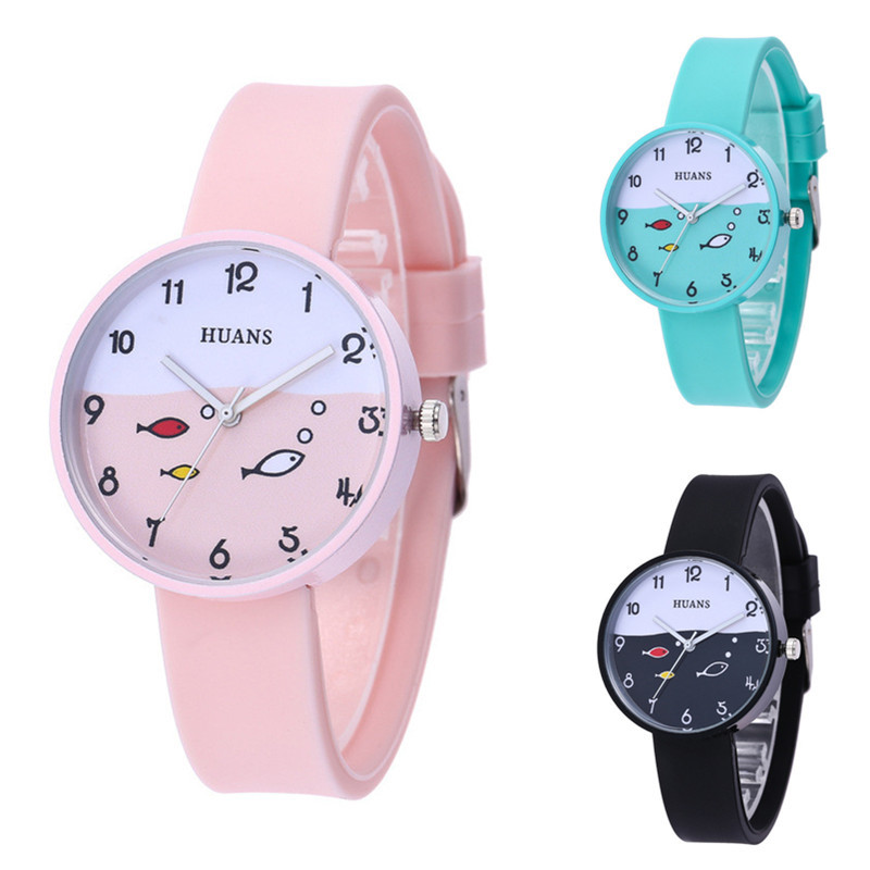 Top Brand 2019 New HUANS Children's Watches For Women Girl Clcok Kids Quartz Watch Simple Small Fresh Silicone Children Watch