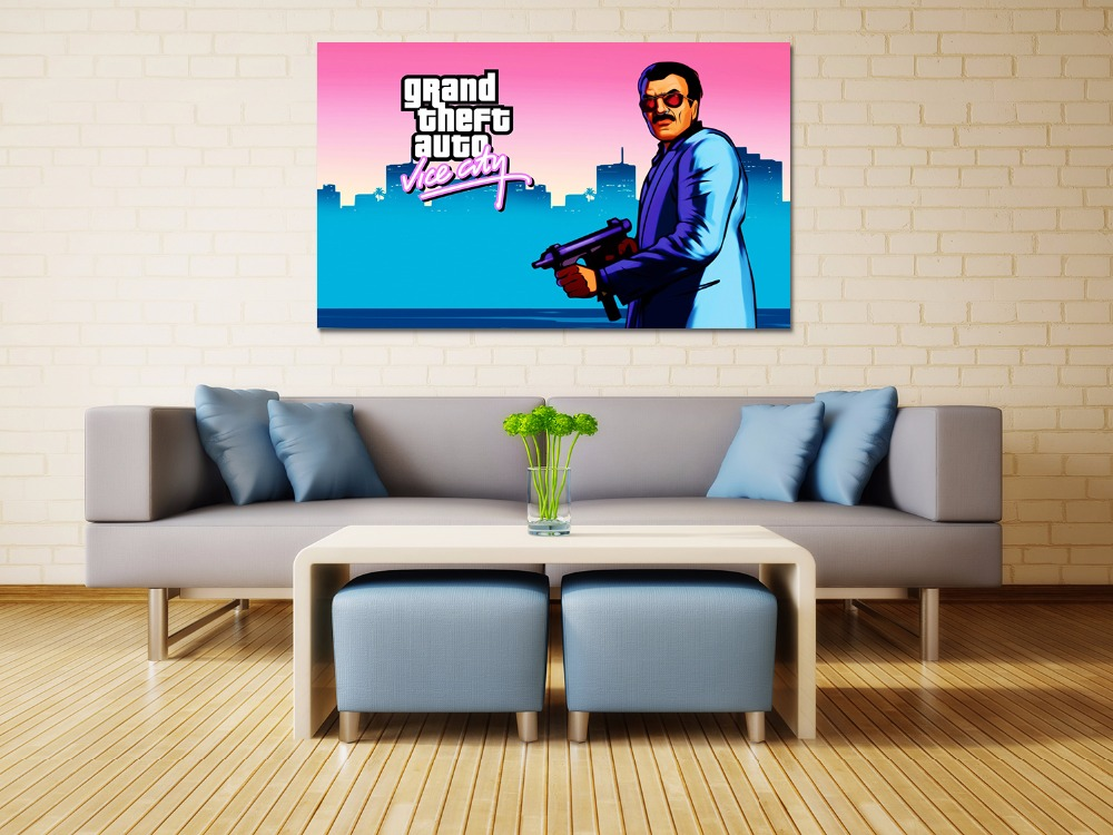 Canvas print painting Grand theft auto gta v 5 Game poster Modern Home Decor Wall art Pictures For Living Room No frame F1612