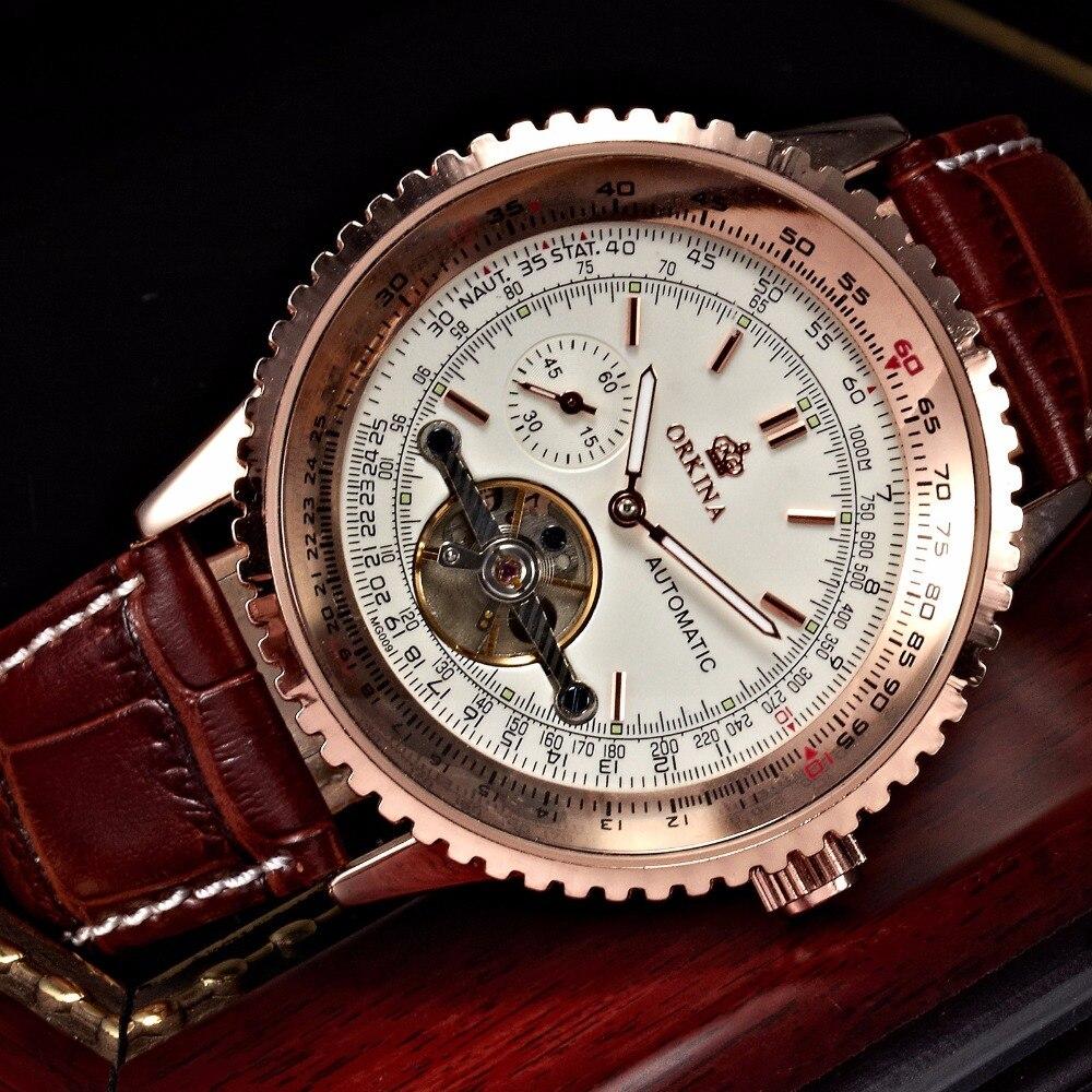 Orkina Tourbillon mécanique montres hommes automatique auto vent Transparent lumineux grand 51mm visage hommes en cuir montre-bracelet - 4