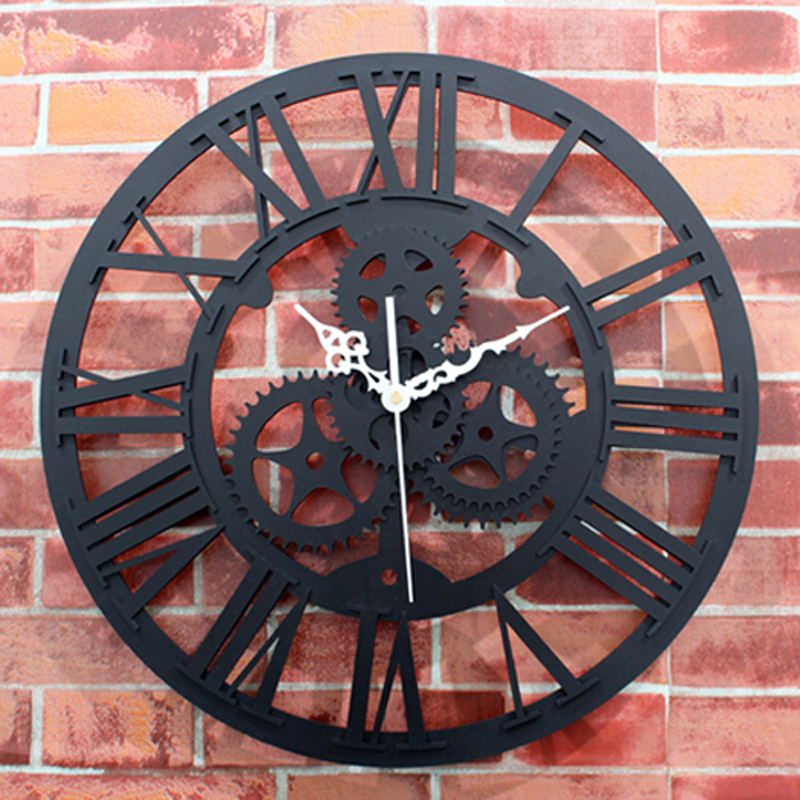 European Retro Gear Wall Clock Modern Design Roman Number