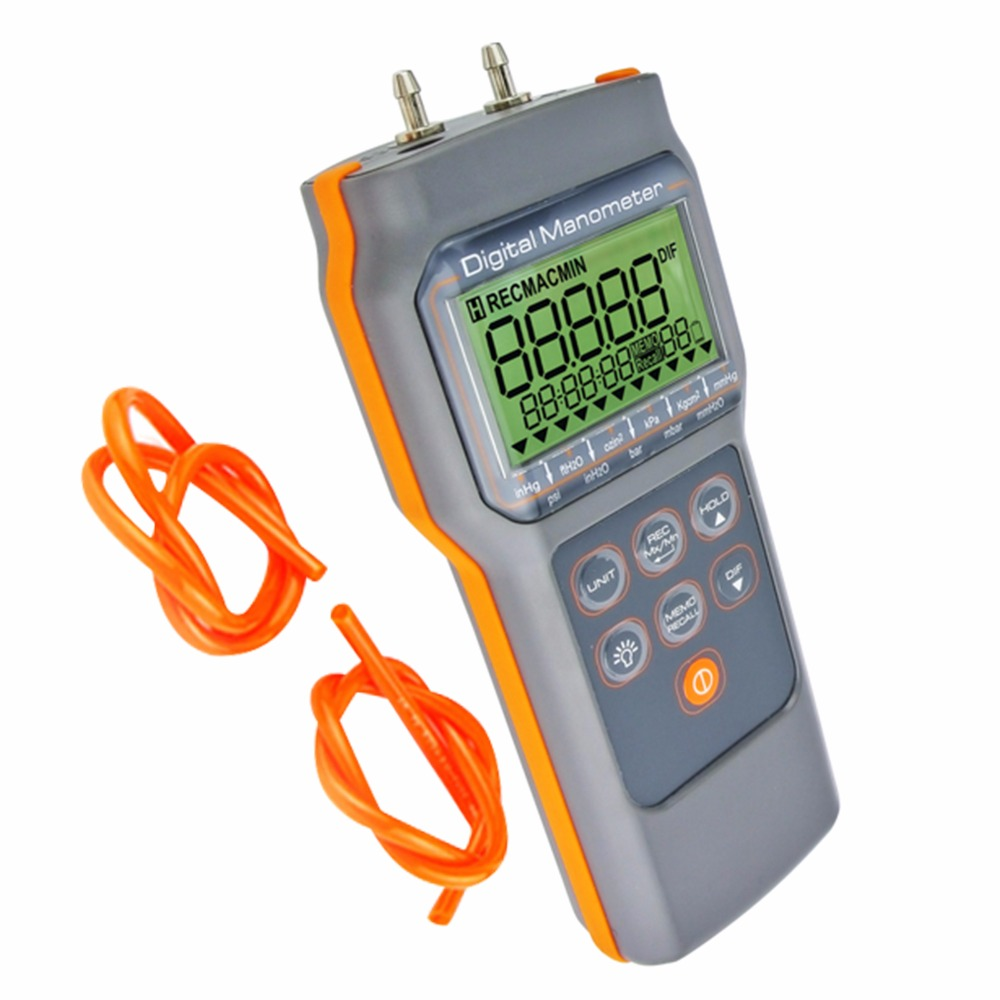 Digital Air Pressure Manometer psi15 000 Gauge Tester HVAC Refrigeration with 4mm lug tubes Ambient Differential
