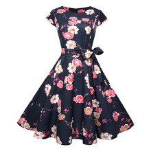 Women Party Casual Short Sleeve Vintage Pleated Swing Dress Wish Sashes fb0e56303c37