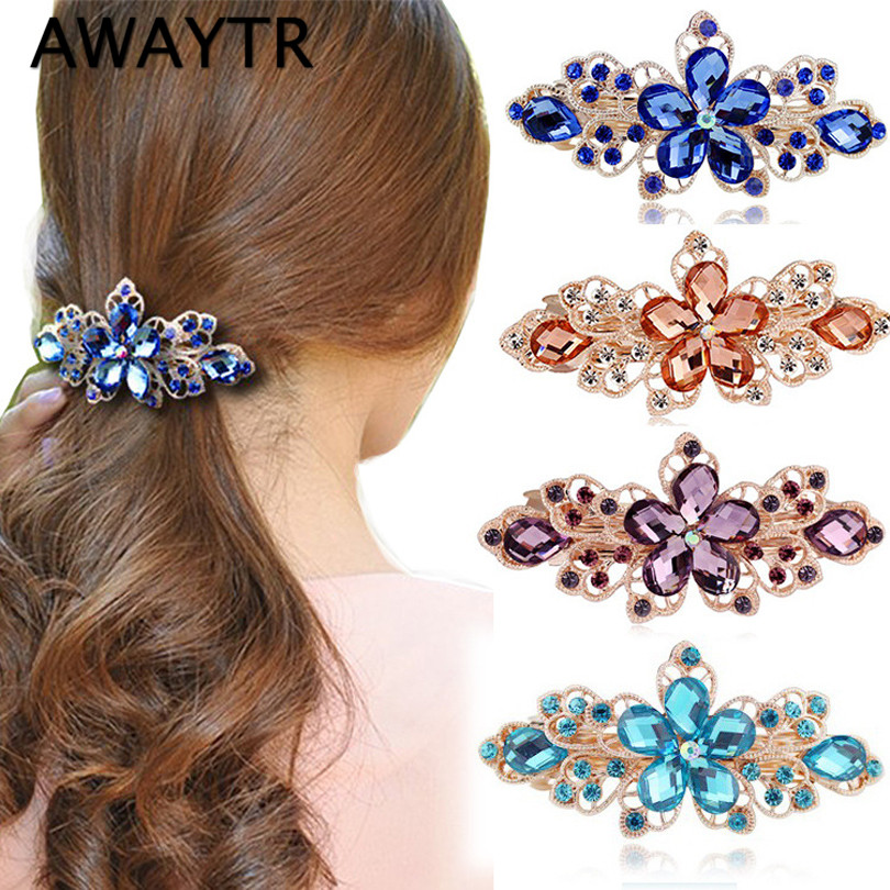 AWAYTR 1 Pc Elegant Hairpins with Rhinestones Women Girls Colorful Crystal Flower Hair Clip Hairpin Barrette Head Ornaments 1pc fashion lovely women girl metal leaf hair clip crystal hairpin barrette headwear christmas party hair accessory 2016 hot