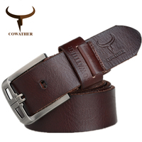 COWATHER 2016 100 Top Cow Genuine Leather Belts For Men Alloy Buckle Fashion Style Design Exquisite