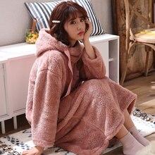Winter Warm Bathrobes Women Robes Velvet Homewear Nightdress Hooded Sleepwear Suits Autumn Flannel Soft Robe 2019