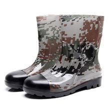 Tall Rain Boots for men Plastic Camouflage Medium Tube Waterproof Rainboots Ladies Wellies Wellington Matte Boots(China)