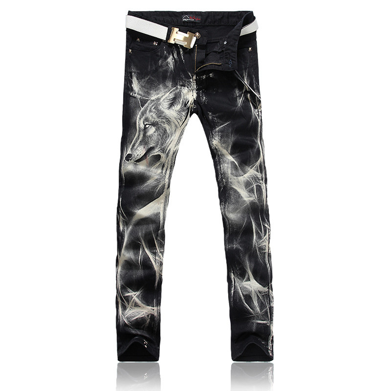 2017 New Fashion Straight Leg Jeans Long Men Male Printed Denim Pants Cool Cotton Designer Good Quality Brand Trousers remote control wall touch switch us wireless light panel wifi on off sensor 2 gang rf433 240v smart controller
