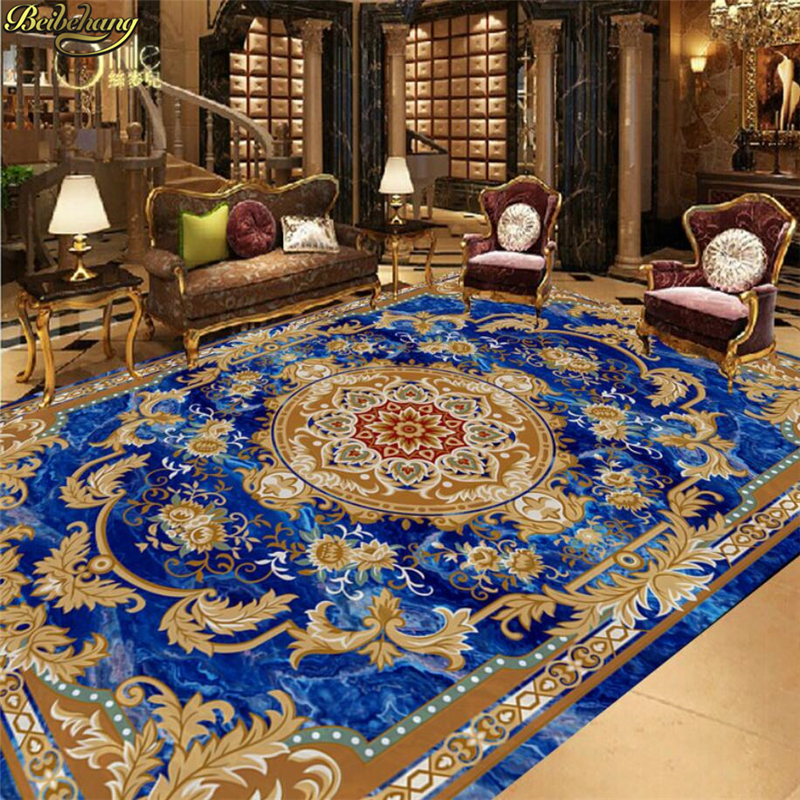 beibehang Custom photo wallpaper self-adhesive 3D floor blue and blue European style ceiling European carpet floor painting beibehang custom european victoria photo