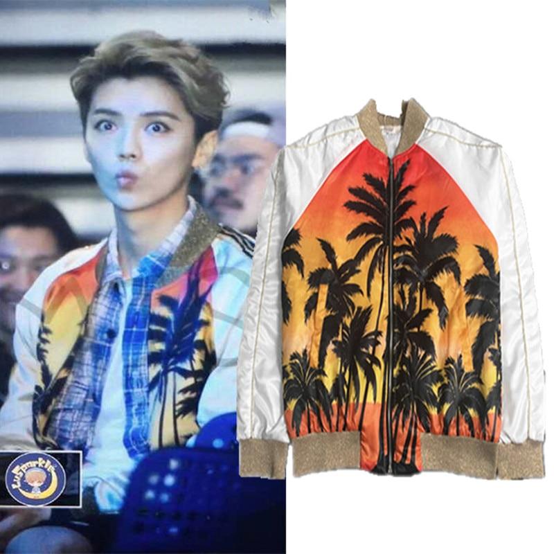 2018 automne hommes marque de mode hawaïen étoile Style noix de coco impression veste mâle décontracté Slim Fit amant veste manteau importation tissu