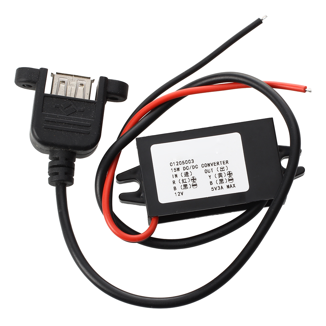 Inverter 12V Converter Transformer to DC 5V 3A DC Converter USB Connection Cable 30 cm