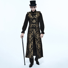Steampunk Gothic Palace Style Fancy Embroidered Men's Long Waistcoat Autumn Winter Sleeveless Slim-fit Vest Gorgeous Count Coats