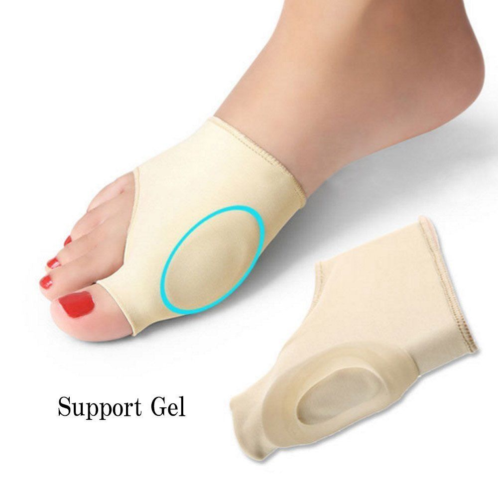 Aptoco 2 Pcs Bunion Corrector Gel Pad Stretch Nylon Hallux Valgus Protector Guard Toe Separator Orthopedic Supplies