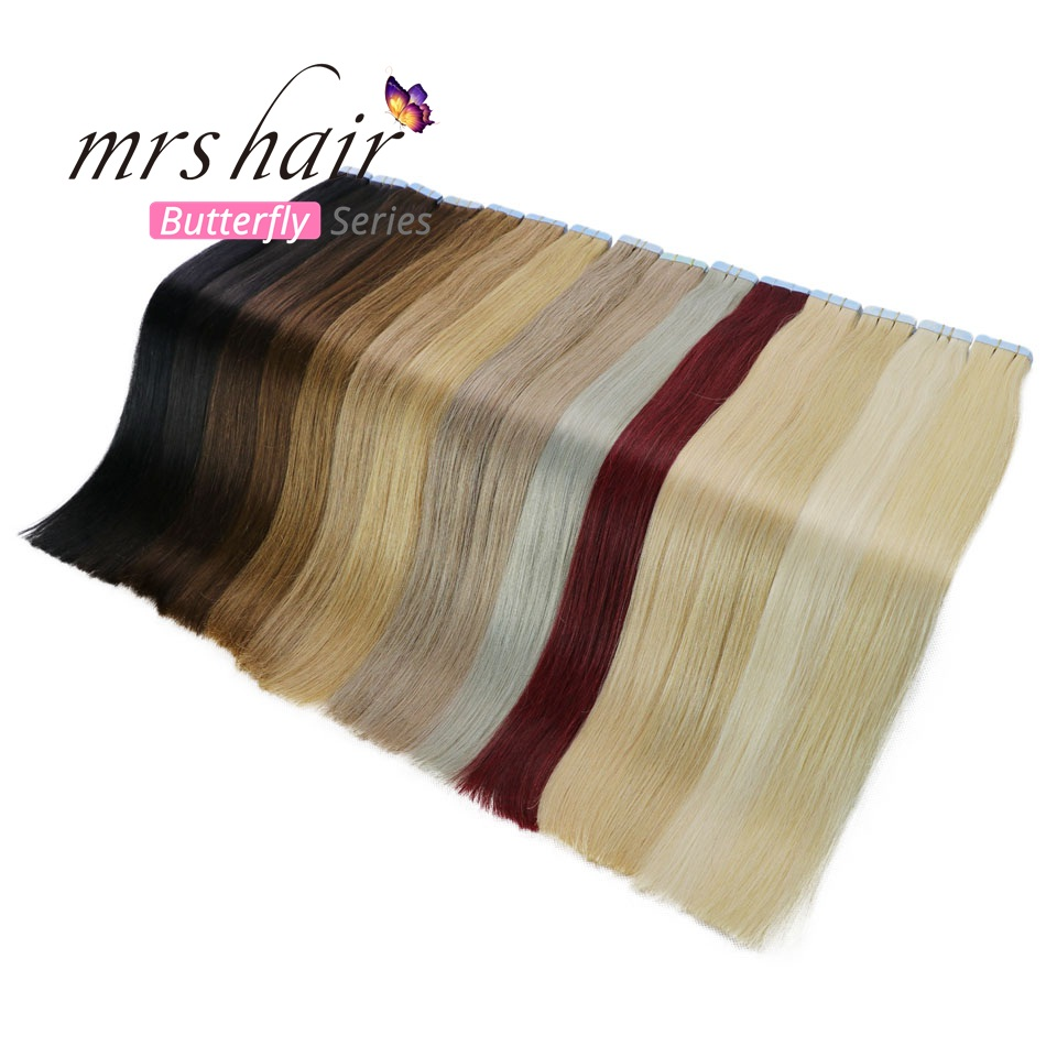 """MRSHAIR Tape In Human Hair Extensions 16"""" 18"""" 20"""" 22"""" 24"""" 20pcs Straight Brazilian Human Hair On Adhesives Invisible Tape Hair"""
