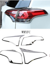 Fit For Toyota RAV4 RAV 4 2016 2017 2018 ABS Chrome Rear Tail Light Lamp Taillight Cover Trim Frame Sticker  Car Accessories