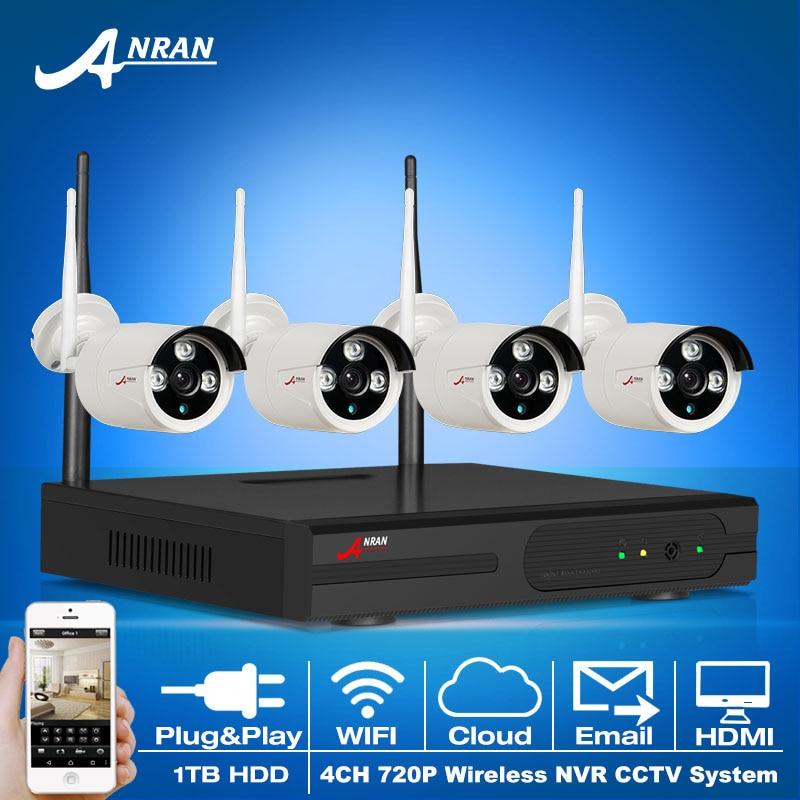 ANRAN 4CH Plug And Play NVR Wireless CCTV Camera System 720P HD Outdoor Weatherproof IR WIFI