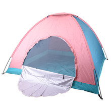 4-Person Large Space Tent Sun Shade Shelter Outdoor Hiking Travel Camping Napping Awning Fishing Party  Beach Tents Pink & Blue