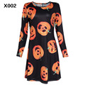 Halloween costumes Halloween 2016 New Women Long Sleeve Dress Cartoon Print Dress Party Wear