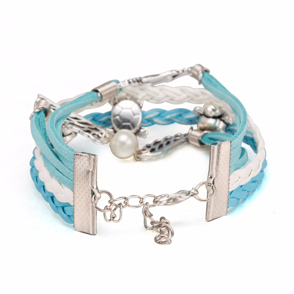 Black Red Brown White Multi Strand Rope Handmade Leather Bracelet Wristband  Mens Womens Wholesale Jewelry Fsh215