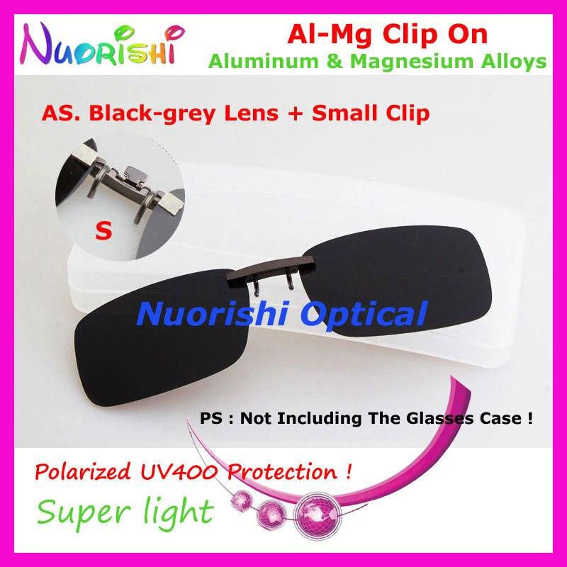 10 шт. сплава al-mg поляризованные Очки очков 7 цветов UV400 линзы клип на для малого и среднего Размеры зажимы cp07 - Цвет линз: AS Black grey