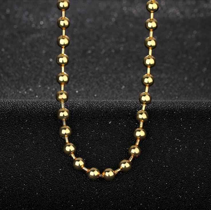 SMTCAT 18 k Pure Gold Color Necklace Golden 50cm Chain 6mm Beads For Women Girl Gift Fashion Jewelry Upscale Top Good Nice Like
