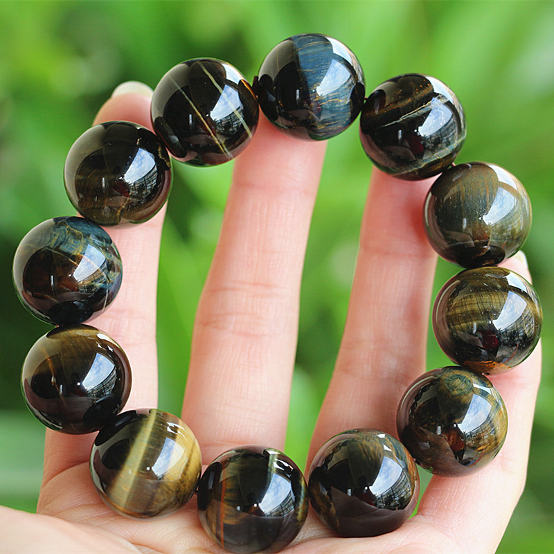 Natural Stone Beaded Bracelet Handmade Women Men Jewelry Strand Charm Yellow Blue Tiger Eye Bracelet
