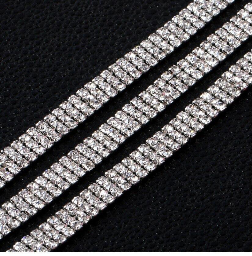 Free Shipping 10yards 3 Rows 4 Rows SS12 Sew On Rhinestone Chain, Rhinestone Applique,Wedding Applique,Rhinestone Trim LSRT12184