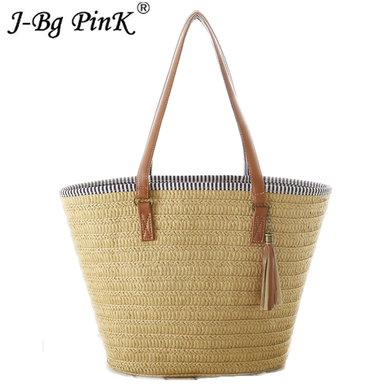 New 2018 Summer Style Beach Bag Women Straw Tassel Shoulder Bag Brand Designer Handbags High Quality Ladies Casual Travel Bags tutudress 2018 new brand summer style