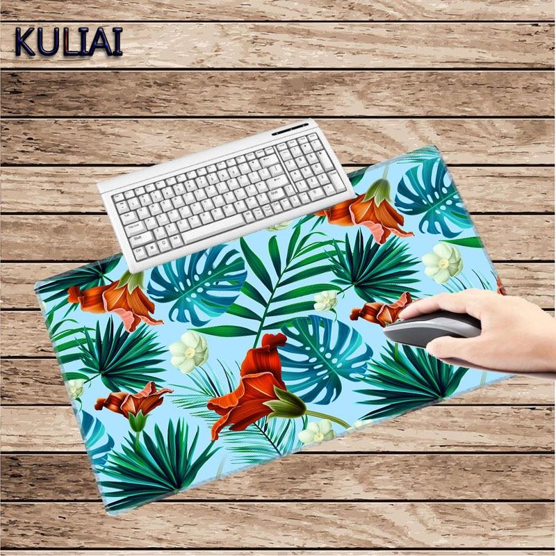 KULIAI hojas frescas rojo flores Goma 30X60 a 40X90 Cm para oficina escritorio del hogar teclado ratón