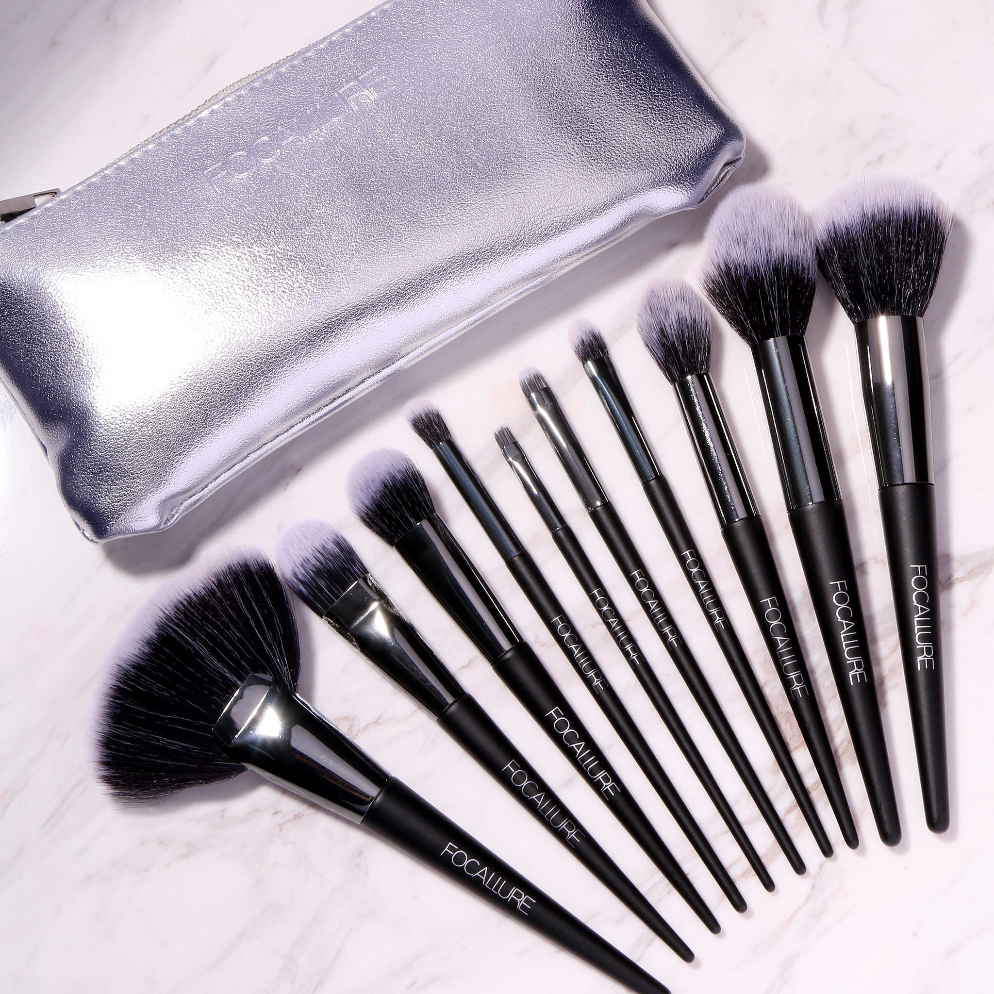 Focallure 10 Buah Set Kuas Makeup Foundation Eyeshadow Bubuk Lip Kit Makeup Sikat Kosmetik Kit