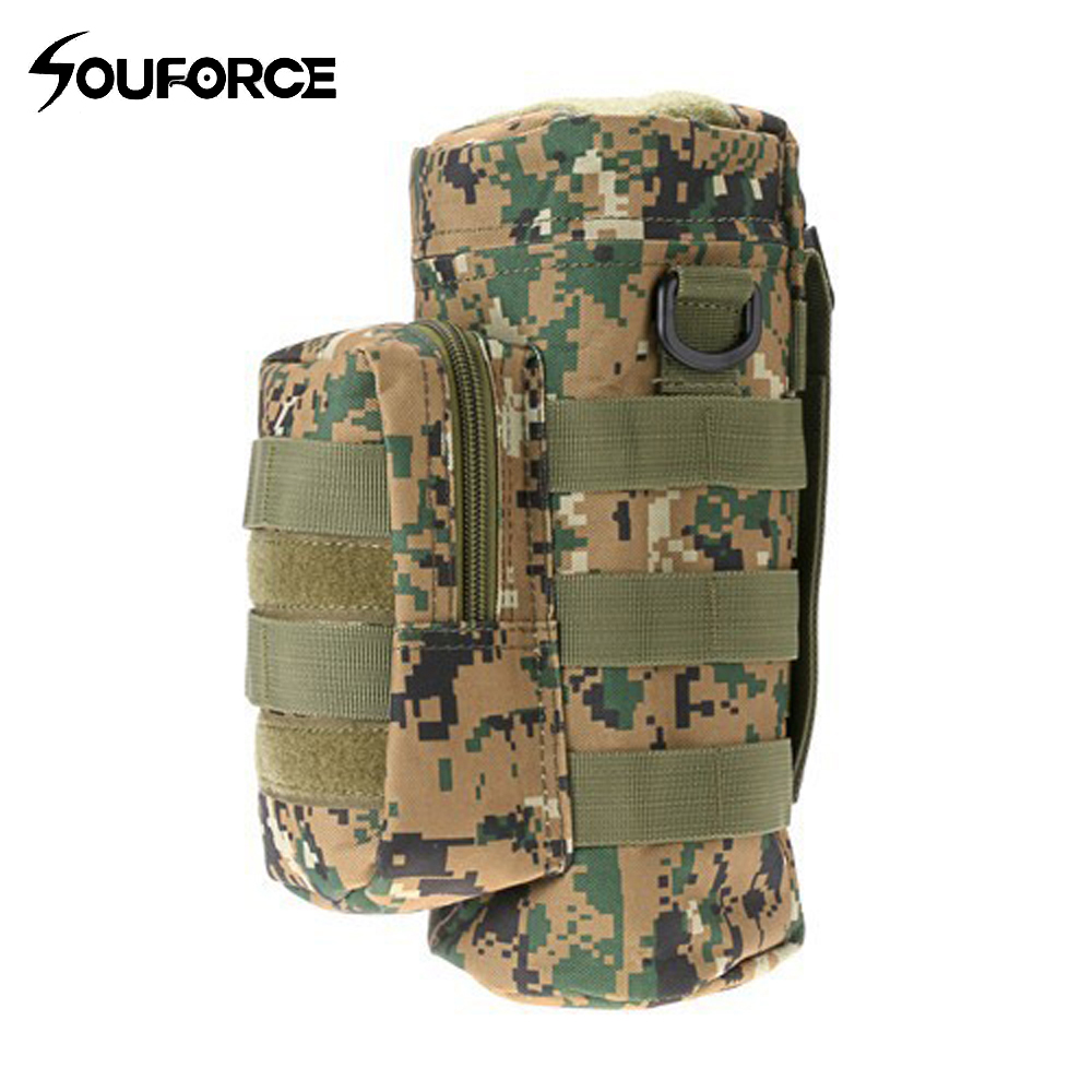 Camouflage Military Molle Tactical Travel Water Bottle kettle Carrier Holder Hiking Bicycle Camping Sport Water Bag
