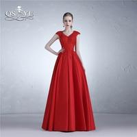 QSYYE Red Long Prom Dresses vestido longo V Neck Lace Top Floor Length Satin Formal Evening Dress Elegant Party Gown