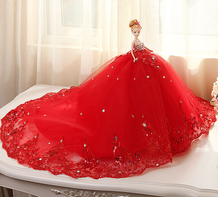 Doll + Wedding Dress /100% Handmade Warm Red Luxury Crystal Bride Wedding Doll Big Trailing Evening Gown For Barbie Doll 03 red gold bride wedding hair tiaras ancient chinese empress hat bride hair piece