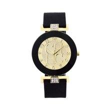 2018 Marca de Moda Ouro Cristal Silicone Genebra esporte Relógio de Quartzo As Mulheres se vestem casuais Relógios montre homme relojes hombre