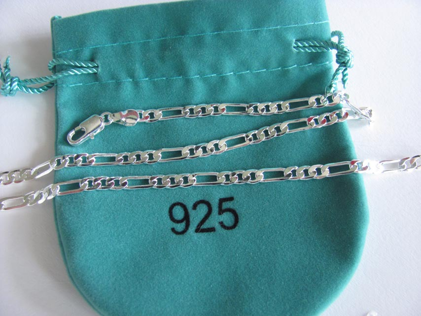 5pcs/pack wholesale 4mm 20'' Men's Necklace 925 sterling silver link chains n102 gift pouches free shipping