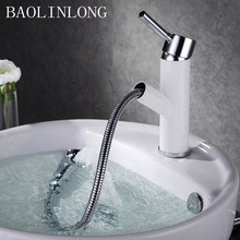 BAOLINLONG New Styling Brass Deck Mount Basin Bathroom Faucet Vanity Vessel Sinks Mixer Pull Out Tap