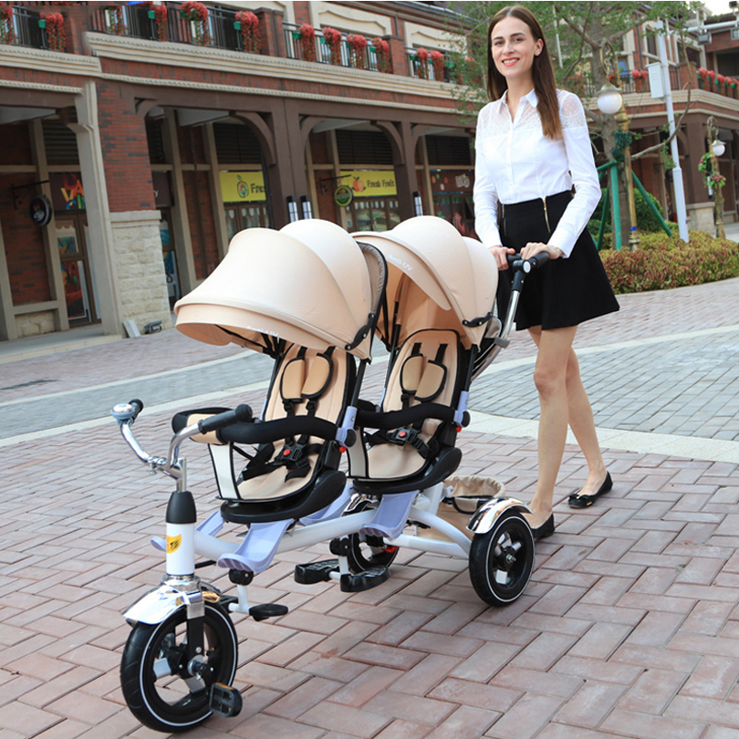 twins Stroller 2 seats good quality Child tricycle Back seat can twist lying baby tricycle twins tricycle twins trolley 3 in one