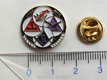YORK RITE Round Freemason Lapel Pin Badges Masonic Masonry Metal Crafts Brooches and Pins Gold Plated