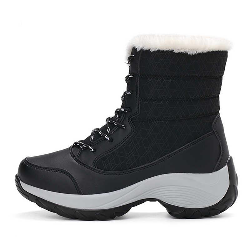 Mới Mắt Cá Chân Giày Nữ Mùa Đông Chống Nước Ủng Nữ Thời Trang Mùa Đông Giày Ấm Sang Trọng Winte Giày Nữ Plus Kích Thước 42