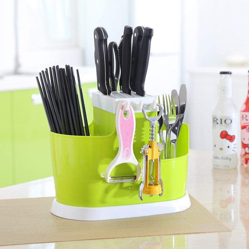 Plastic Kitchen Storage Rack For Organizer Kitchen  Knife Fork Shelf Spoon Holder Tool Drain  Chopsticks Tableware Utensils