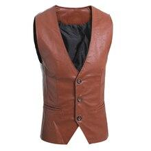 Mens Brown Leder Weste Motorrad Jacken Mann Anzug Weste Klassische Casual Männlichen Einreiher Schwarze Weste Slim Fit