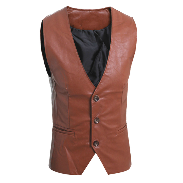 Mens Brown Leather Vest Motorcycle Sleeveless Jackets Man Suit Vest Classic Casual Male Single Breasted Black Waistcoat Slim Fit