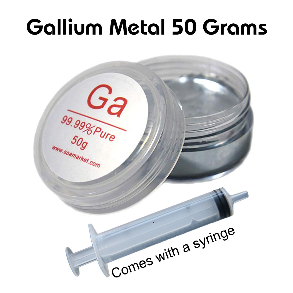 Gallium Metal 50 Grams Liquid Metal 99.99% Pure Comes With Free Syringe