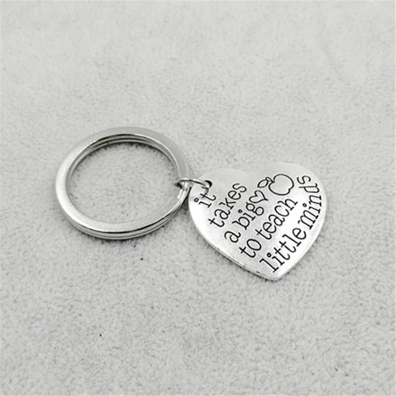 1 Pcs Trendy Silver Color Alloy It takes a big heart to teach little minds Heart Shaped KeyChain Teacher Gift Jewelry