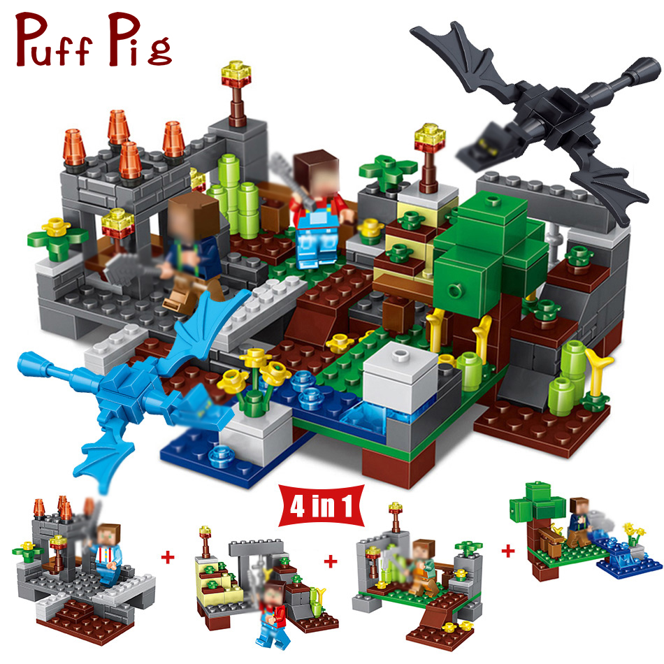 267PCS My World 4 in 1 Town Group Action Figures Building Blocks Compatible Legoing Minecraft City Dragon Bricks Toy Gift Child my world figures toy building blocks compatible with legoinglys minecrafted city 4 in 1 diy garden bricks toy gift for kid