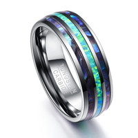 New Style 8mm Polished Dome Three Slots Carbide Tungsten Wedding Ring For Men Women Wedding Bands Carbon Fiber Groove Jewelry