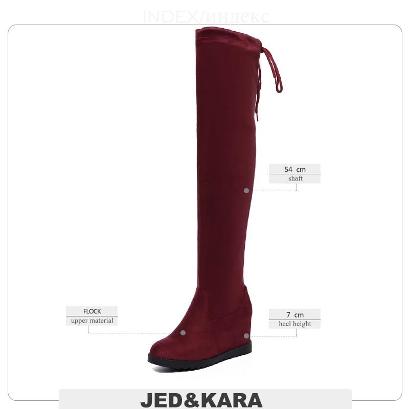 Jk Le Genou Chaussures Grande 43 vin Rond Bout Noir Taille brown Troupeau Croix Liée Botte Bottes Sur Femmes 2018 Insert Stretch Hauts Rouge À Talons rXwqwIF