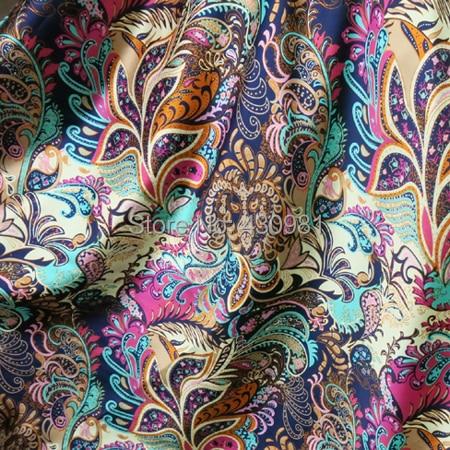 Оптовая продажа, Мягкая атласная ткань из спандекса для шитья, винтажная Цветочная имитация шелка, эластичная атласная ткань с принтом