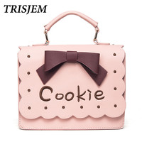 2017 Wavy Edge Cookie Embroidery Bags Handbags Women Famous Brands Lolita Shoulder Bag Kawaii School Crossbody
