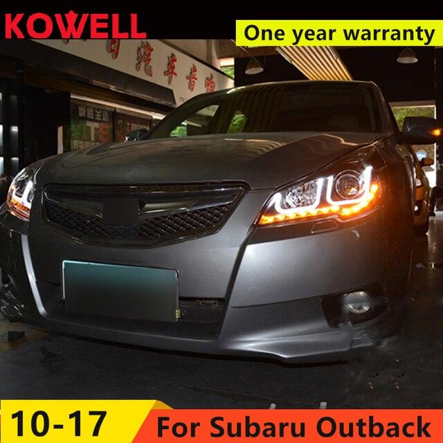 KOWELL סטיילינג המכונית סובארו אאוטבק 2010-2014 עבור אאוטבק ראש מנורת LED DRL D2H קסנון HID bi קסנון עדשת קורה כפול עדשה