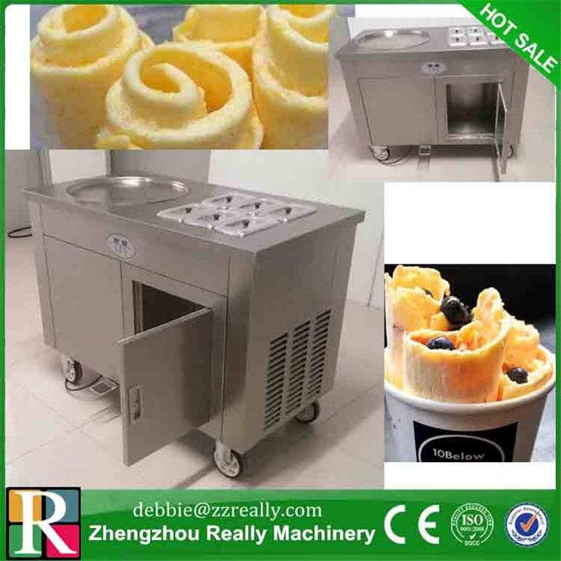 Fried Ice Cream Maker Machine w 1 Pan 6 Buckets Stainless Ice Cream Roller